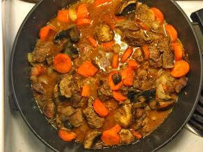 Winter beef stew with mushrooms.