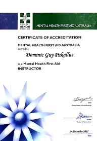 Mental Health First Aid Trainer accreditation.